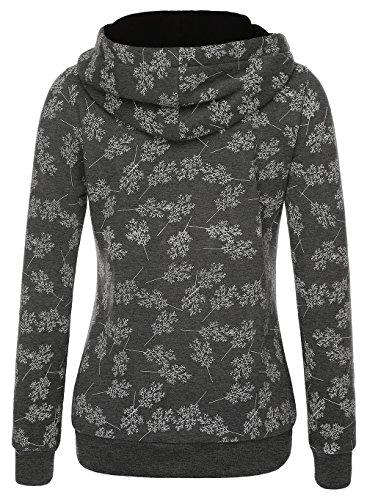 EA Selection Damen Sweaters Hoodie Kapuzenpllover Coolen Stehkragen Grau-Baum XL - 2