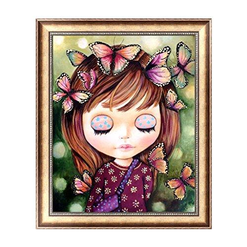 S-TROUBLE - Cuadro Decorativo con diseño de Mariposa y niña en 5D, Bordado de Diamantes, para decoración de casa, Pared o habitación, 30 x 36 cm