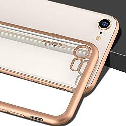 Kaufen iPhone 8 Hülle, iPhone 7 Hülle, CASEKOO Silikon Dünn Case Transparent Weich Durchsichtig Leicht Cover Ultra Slim TPU Schlank Bumper Handyhülle Soft Kratzfest Schutzhülle für iPhone 8 und iPhone 7[Unterstützt Kabelloses Laden(Qi)]-Rosa Gold