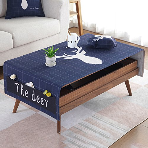 DSAQAO Tavolino in cotone lino panno tovaglia, Rettangolare Tavolino opaco Mobile tv Coprire il...
