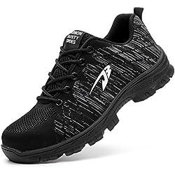 COOU Chaussure de Sécurité s1p Respirant Chaussures de Travail avec Embout de Protection en Acier Et Semelle de Protection Unisexes (42 EU, Style 536 :Black)