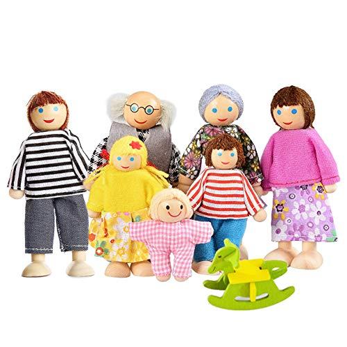 Watme Felice Famiglia di Bambole di Legno Set di 7 Pupazzi Flessibili