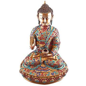 Es Craftvatika 36,58 cm alto figura estatua de Buda tamaño grande, Vintage bronce Old gemas turquesa Coral joya Sakyamuni find something different escultura de Buda 4
