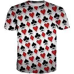 Novedad Poker Print Fitness Tallas Grandes Hombres tee Tops Naipes Moda Camisetas As Shown L