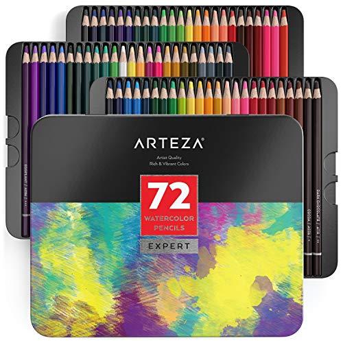 Arteza Matite Colorate Acquerellabili, Set da 72 Pezzi Multicolore, Scatola in Latta, Matite da...