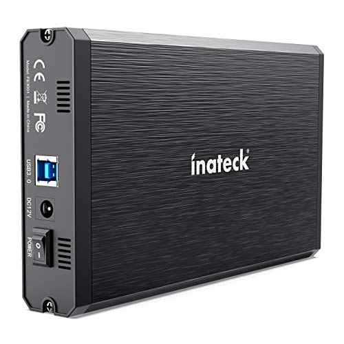 Inateck Box Custodia Esterna in Alluminio per Disco Rigido Esterno/SSD da 3,5/2,5' SATA, con USB...