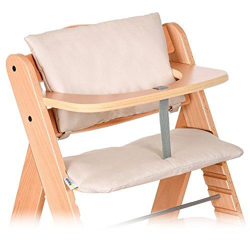Hauck, set di 2 cuscini imbottiti di qualità per seggiolone Alpha, con schienale e sedile, nei colori grigio e beige