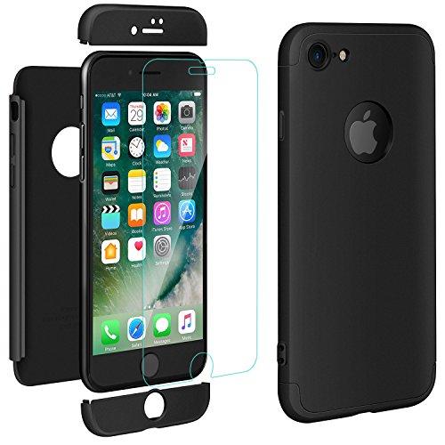 ivencase iPhone 8 Cover Premio Ibrido Rugged 3 in 1 Duro AntiGraffio Macchia PC Custodia + Pellicola Vetro Temperato Protettiva per Apple iPhone 8 4.7″ Nero