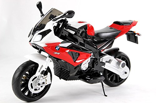 #BMW S 1000 RR Original Lizensiert Motorrad für Kinder, EVA räder, Metallrahmen, Zündschlüssel, 2x Motor, 12 V Batterie, abnehmbare Hilfsräder#
