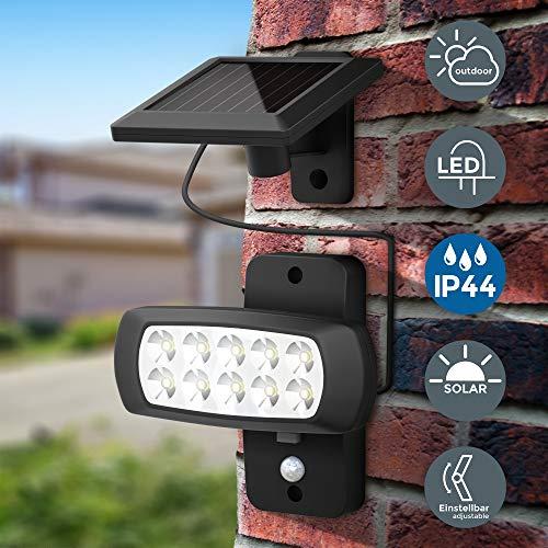 Faro LED solare esterno con sensore di movimento e crepuscolare, luce fredda 6500K, luce di...