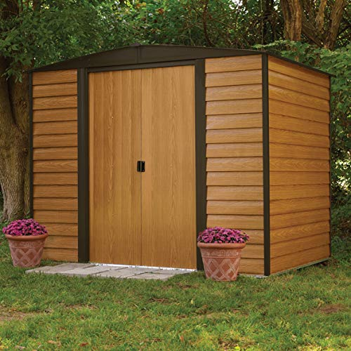 This shed that can be found in different sizes contains a metal frame and wood-like panels that give this unit an attractive appearance. Metallic sheds tend to have a bad rapport because they succumb to rust easily but this one so far has proved to be different through various customer reviews submitted. It comes with fire resistance abilities and you won't have to deal with rot. Just re-paint the structure regularly to ward off any moisture damage and enjoy using your shed for times to come.
