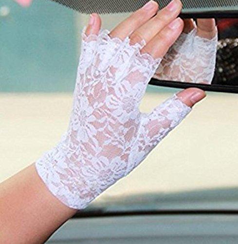 Kingwin - 1paio di raffinati guanti da sposa; corti, senza dita, in pizzo; stile retro: Francia...