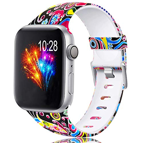 Zekapu Cinturino Compatibile con Apple Watch 38mm 42mm 40mm 44mm per Donne Uomini, Durevole Impermeabile Modello Stampato Silicone Sostituzione Cinturino per iWatch Series 4/3/2/1, Colorato Medusa