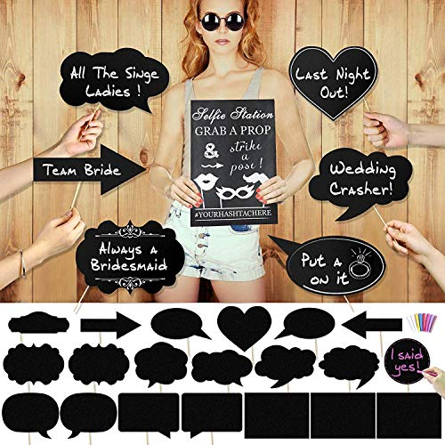 Konsait Chalkboard Speech Bubbles and Signs Wedding Parties Photo Booth Props (20pcs),...