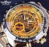 Designer Black Golden Automatic Skeleton Sport Watch For Men