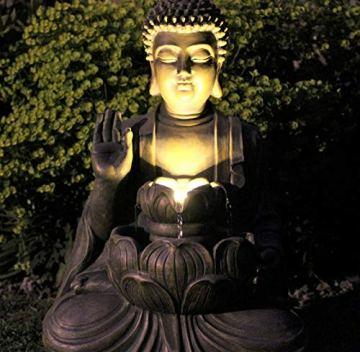 Home Hut Buda Fuente de Agua Fuente de jardín Adorno Decoración al Aire Libre LED Bronce 50 cm 5