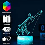 3D Fortnited lampada Battle Bus RGB Mood Lamp 7 color base luce acrilico stereo illusione LED tavolo lampada da comodino Crack Character Scar