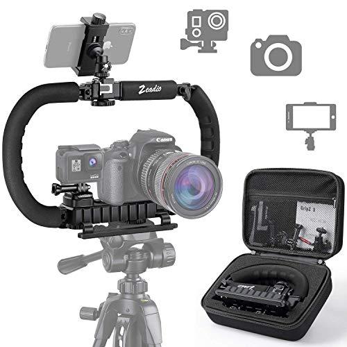 Zeadio Stabilizzatore per smartphone fotocamera GoPro DSLR, Impugnatura pieghevole, Video Rig per tutti GoPro, fotocamera, videocamera, DSLR, telefono cellulare, iPhone, Huawei, Samsung ecc