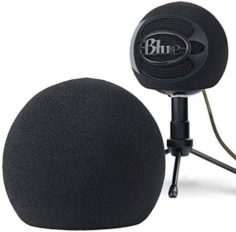 YOUSHARES Blue Snowball Pop Filter – Personalisierbare Mikrofon-Windschutzscheiben-Schaumstoff-Abdeckung zur Verbesserung von Blue Snowball ICE Mikrofon-Audio-Qualität (schwarz)