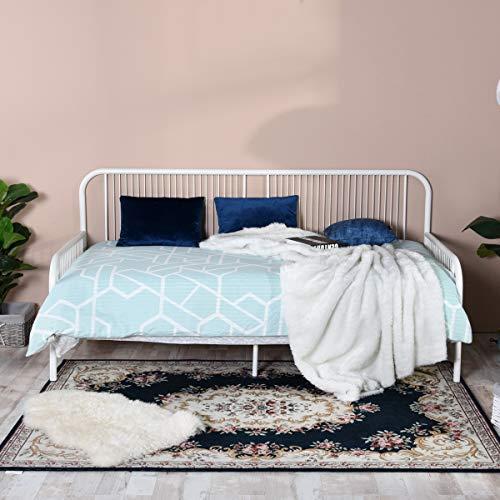 Aingoo Tagesbett Daybed, Metallbett Bettgestell Bett mit lattenrost Rahmen Metall Einzelsofa Bettrahmen Gästebett Liegefläche für Kinder Erwachsene Passt für 90 * 190 cm Matratze Weiß