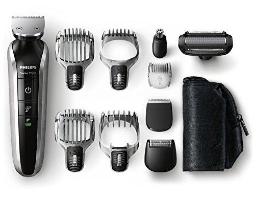 Philips QG3380/16 - Set de arreglo personal, resistente al agua, con funda de viaje, color negro y naranja (incluye 10 accesorios)