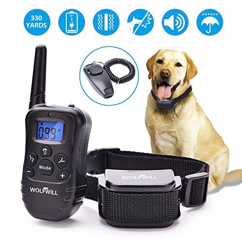 WOLFWILL Collar de Entrenamiento para Perros, 300 Yardas, Recargable y Resistente a la Lluvia con Collar de Vibración para Entrenar a su Perro.