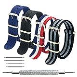 Cinturino Orologio 4 Pacchetti 18mm 20mm 22mm Balistico Cinturino Nato Cinturino in Nylon con Bar Primavera Link Pin Remover Strumento (22mm, Black+Bond+Red White Navy+Navy Blue)