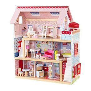 KidKraft 65054 Casa de muñecas de madera Chelsea Doll Cottage para muñecas de 12 cm con 16 accesorios incluidos y 3…