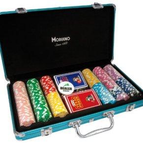 Modiano - Maletín con fichas (Aluminio, 300 fichas de 14 g), Color Azul [Importado de Italia]