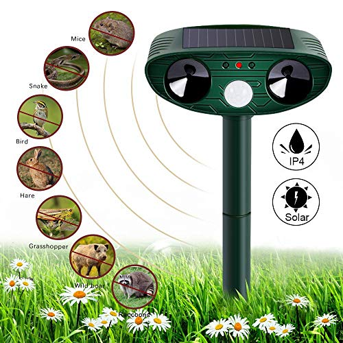 Nasharia Katzenschreck Ultraschall Solar, wasserdichte Utraschall Abwehr mit Batteriebetrieben Katzenschreck Tiervertreiber Tierabwehr Ultraschall Solar für Katzen, Hunde, Schädlinge, Rotwild,Mäuse