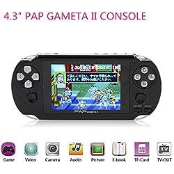 """Handheld Spielkonsole, HLZK 64Bit klassische Videospiel Spieler 4,3 """"PAP GametaII Plus mit 600 Spiele Geschenke für Kinder"""