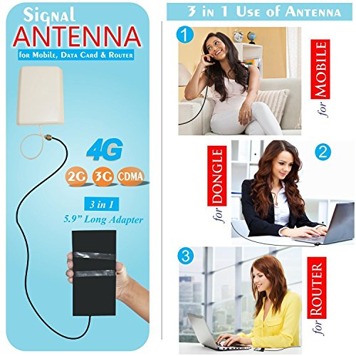 "3AN Telecom 4G, 3G GSM CDMA High Gain 12dbi Network Antenna for Mobile, Data Card Router with 15 m Cable, 5.9"" Big Adapter for All Networks Operators for Use at Home/Offices/Basements (Black)"