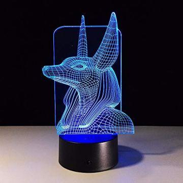 Xzfddn 7 Colores Cambian Egipto, Ilusión 3D, Cambio De Color, Luz De Escritorio Con Toque Negro, Decoración De Base, Luz Nocturna 6