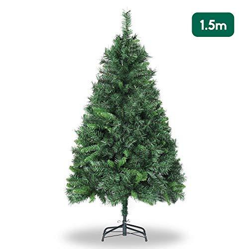 SALCAR Albero di Natale 180 cm, artificialmente con 580 Punte, ignifugo, Abete, Costruzione Rapida incl. Supporto per Albero di Natale, Natale, Verde Deco 1,8 m