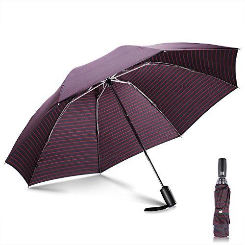 Winddicht Regenschirm,Leebotree Kompakt Reise/Outdoor Reversion Taschenschirm mit einhändiger Auf-Zu-Automatik, Schirmdurch aus robusten 210T Stoff, Teflon-Beschichtung, transportabel Stockschirme (schwarz) (Streifen)
