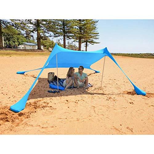 MENCOM Tenda da Spiaggia con Sabbia Anchors e Bastone - 100% Lycra SunShelter Tettuccio Parasole con...