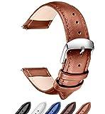 Rilascio Rapido Banda di orologio in pelle, SONGDU di ricambio vera pelle orologio cinturino in Cinturino del Fibbia Dellacciaio Inossidabile (18mm, Marrone)