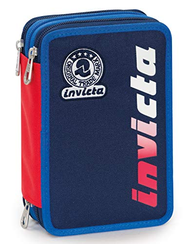 Astuccio 3 Zip Invicta Kupang, Blu, Con materiale scolastico: 18 pennarelli Giotto Turbo Color, 18...