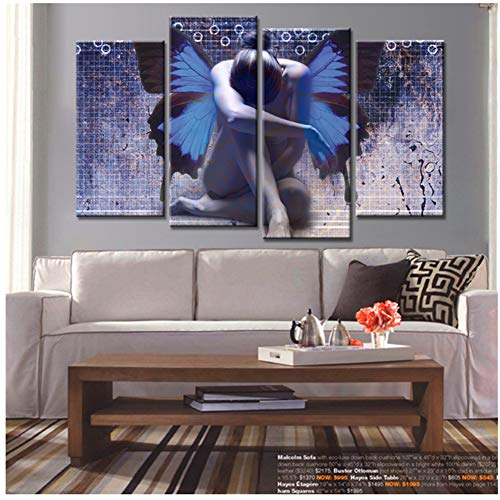 Cuadro de pared con diseño de mariposa para niña de mariposa, cuadros decorativos para sala de estar, 40 x 60 x 2 x 40 x 80 x 2 cm, sin marco
