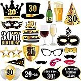 Questo set di accessori fotografici per festa di compleanno comprende: colori dorati e neri di baffi. Diverse labbra, cornici di occhiali, maschere, cappello, occhi carini, e segno di buon compleanno, palloncino, torte, birre. Tutti i puntelli di car...