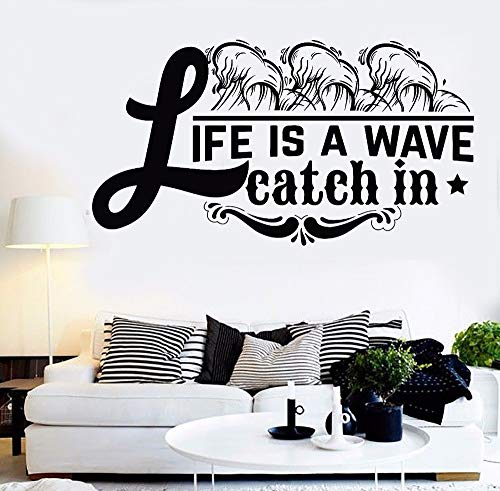 Wall Sticker Quote Words Life Is A Wave Catch in Room Decor Removable Quote Vinyl Wall Decal Home...