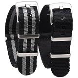Randon nato orologio da polso cinghie Premium Ballistic nylon cinturino con fibbia resistente in acciaio INOX 2pezzi (nero/grigio e nero (Bond), 22mm)