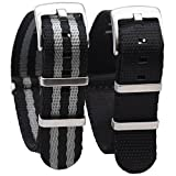 Randon NATO Strap Watch straps Premium Ballistic Nylon Strap with Heavy Duty Stainless Steel Buckle 2 Pack (Black/Black&Gray(Bond), 20mm)