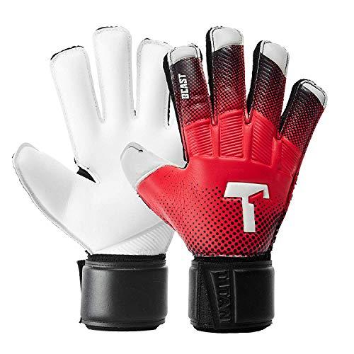 T1TAN Red Beast Junior Guanti da Portiere Professionali con Stecche di Protezione - utilizzati in...