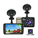 Accfly Full HD 1080P 4.0 inch IPS Screen Car Dash Cam F2.0 Big Eye Dual Lens Car DVR with Rear Camera, 170 Degree Wide Angle, Night Vision, LDWS, FCWS, WDR, Loop Recording, G-sensor (Version-1)