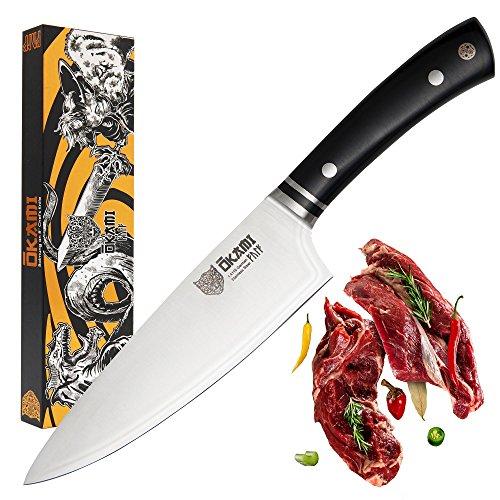 Okami Knives Coltello da Cucina Professionale 20cm Coltello da Chef di Alta qualità in Acciaio Inossidabile Tedesco