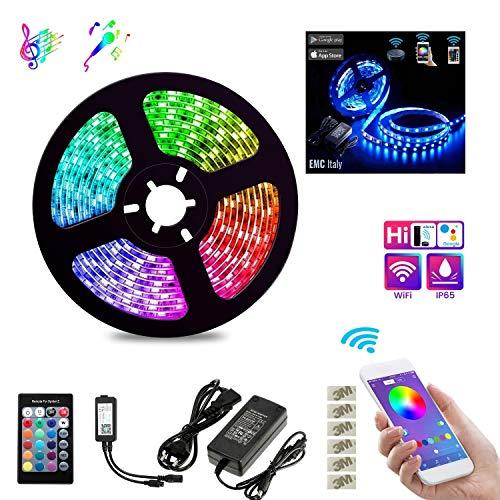 EMC Italy Striscia LED RGB 5M   300 LED Smart Strip 5050SMD WiFi   Compatibile con Amazon Alexa e Google Home   Kit Nastro LED Intelligente Music Sync   Impermeabile IP65   Per Interno/Esterno