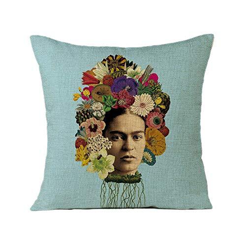 FEIRAN 3D Impreso Frida Kahlo Autorretrato Funda de Almohada Funda de cojín para Sofá Coche Decoración para el hogar 23 45X45cm