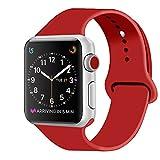 ZRO Cinturino for Apple Watch, Morbido Silicone Braccialetto Sportiva di Ricambio per 42mm iWatch Serie 3/ Serie 2/ Serie 1, Taglia S/M, Rosso