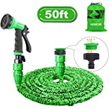 HOMOZE Garden Hose Pipe 50 FT Expandable Garden Hose with 3/4', 1/2' Fittings, Anti-leakage - Flexible Expanding Hose with 8 Function Spray Nozzle (Green)